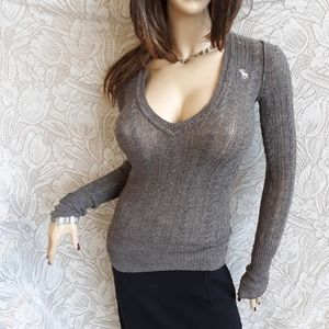 Abercrombie Fitch Sweater Long Brown Angora Mix M